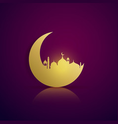 Moon and mosque silhouette on purple background vector