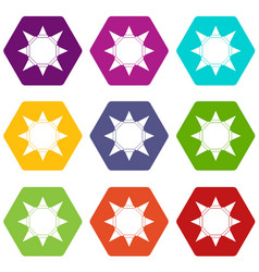 origami sun icons set 9 vector image