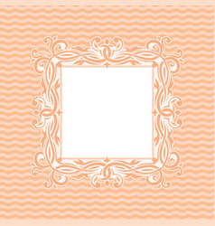 ornamental frame on light pink wave background vector image