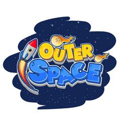 Outer space logo with spaceship vector