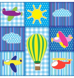 Patchwork with colorful aircraft vector image