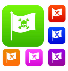 Pirate flag set color collection vector