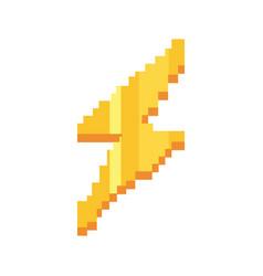 Pixel video game thunderbolt vector