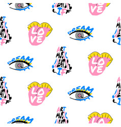 Pop art fun seamless funky pattern with lettering vector