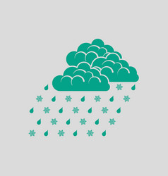 Rain with snow icon vector