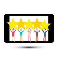 rating symbol with people and stars on mobile vector image