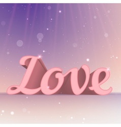 Realistic 3d pink Love sign Typography card vector image