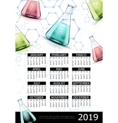 realistic laboratory 2019 year calendar template vector image