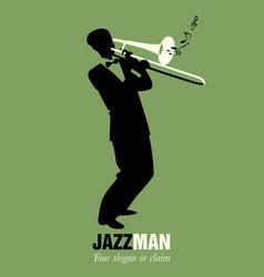 retro cartoon music trombone player playing vector image