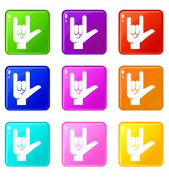 Rock gesture icons 9 set vector