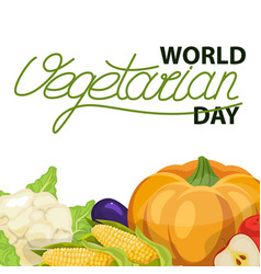 Round frame from vegetables vegetarian vector