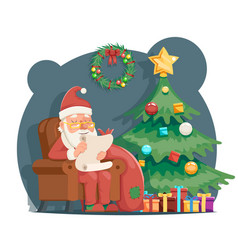 Scroll wishes paper santa claus sit armchair vector