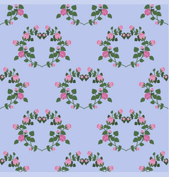 seamless pattern of hearts of pink roses on a blue vector image