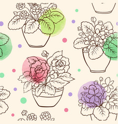 Seamless pattern with houseplants vector