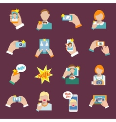 Selfie icons flat vector image