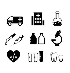 Set icons for medicine industry vector