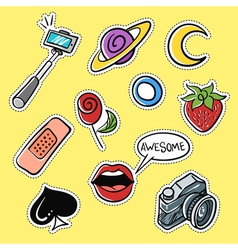 Set of fashionable patches selfie stick lips vector