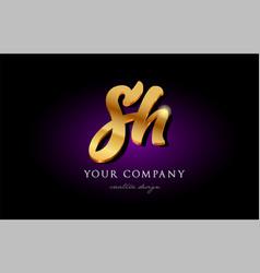 Sh s h 3d gold golden alphabet letter metal logo vector