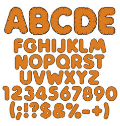 Shaggy color alphabet letters numbers and signs vector