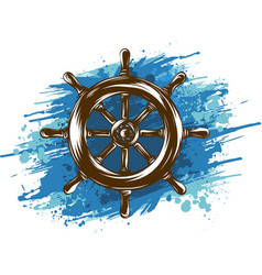 ship wheel on white background nautical icon vector image