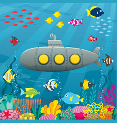 Submarine cartoon background vector
