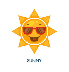 sunny weather icon with cool sun in sunglasses vector image