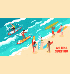 surfing horizontal vector image