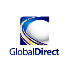 technology global direct square sphere logo vector image