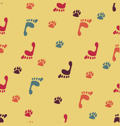traces of dog and human foot print vector image