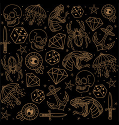 Traditional tattoo collection vector