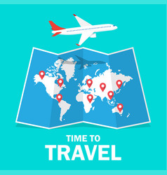 Travel and tourism airplane flying above map vector