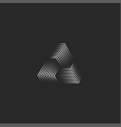 triangle logo creative 3d pyramid shape black and vector image
