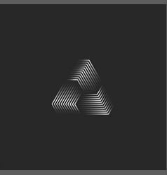 Triangle logo creative 3d pyramid shape black vector