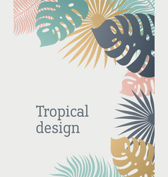 Tropical leaf template in pastel colors summer vector