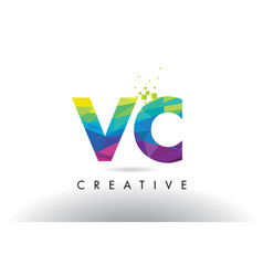Vc v c colorful letter origami triangles design vector