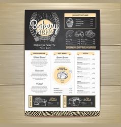 Vintage chalk drawing bakery menu design vector