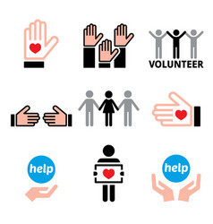 volunteer people helping other charity concept v vector image