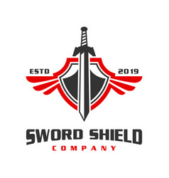 war sword shield logo design vector image