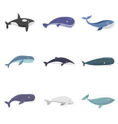 Whale blue tale fish icons set isolated vector