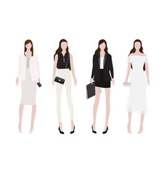 woman in day to night outfit flat style collection vector image