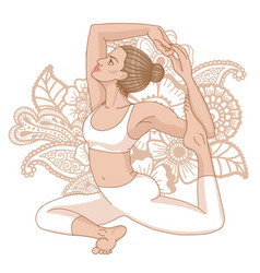 Women silhouette mermaid yoga pose eka pada raja vector