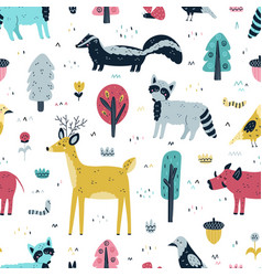 woodland animals seamless pattern cute forest vector image