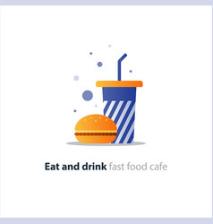 burger and high blue tumbler glass with straw fast vector image vector image