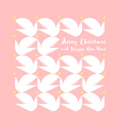 christmas card with greetings and pattern of doves vector image vector image