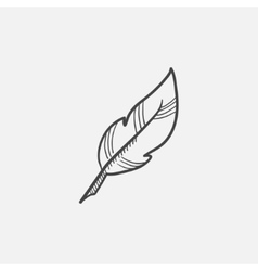 Feather sketch icon vector image