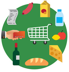 food shopping in supermarket vector image vector image