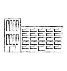 profile city school building line sticker vector image
