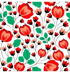 Retro seamless pattern with red poppies vector image vector image