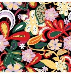 Seamless backgroundTropical flowers and leafs on vector image