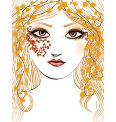 Autumn girl face vector image